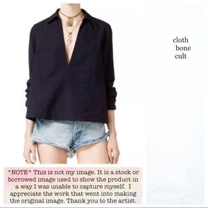 """FREE PEOPLE🌼""""Ready or Not"""" Linen Blend BLOUSE"""
